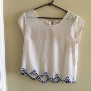 White and blue blouse